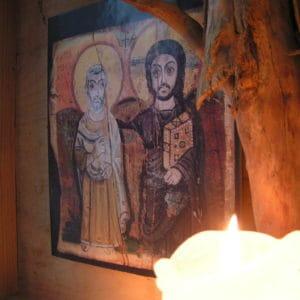 Meditation Ikone mit Kerze